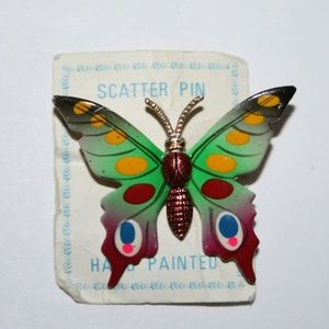Vintage colorful hand painted butterfly brooch